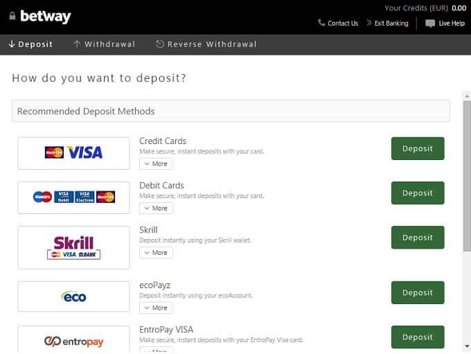 Methods of payment via Betway apk